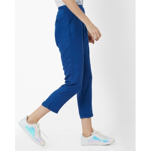 Oxolloxo Pleated Casual Pants with Semi-Elasticated Waist