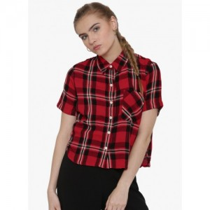 FOREVER 21 Red & Black Rayon Checked Shirt