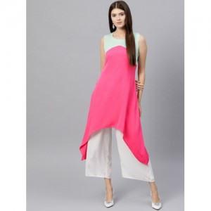 GERUA Pink & Mint Green Colourblocked A-Line Kurta