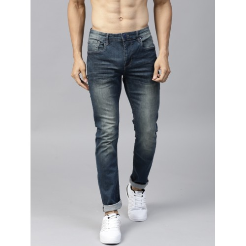 HRX by Hrithik Roshan Men Blue Cotton Mid-Rise Jeans
