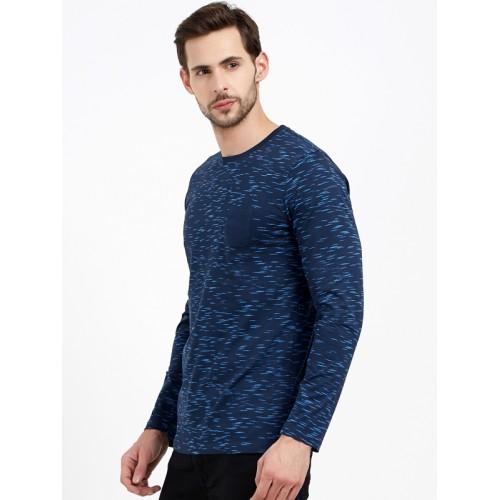 Maniac Navy Blue Printed Round Neck T-shirt