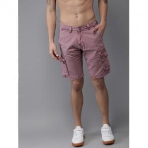 Moda Rapido Men Mauve Solid Regular Fit Cargo Shorts