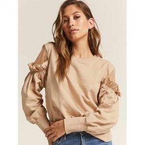 FOREVER 21 Women Beige Cotton Solid Sweatshirt
