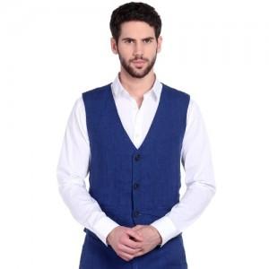 Jack & Jones Blue Linen Waist Coat