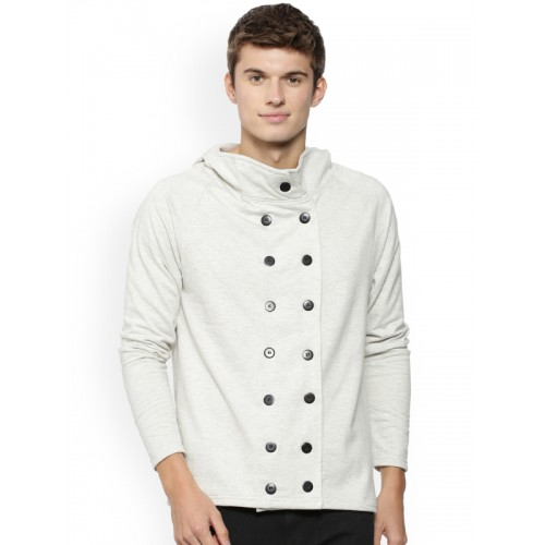 Campus Sutra Men Cream-Coloured Solid Tailored Jacket