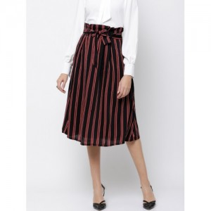 fcb2926a506e Buy FOREVER 21 Black Striped Rayon Women's Pencil Skirt online ...