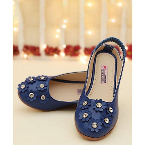 D'chica Royal Blue Synthetic Leather Flower Applique Bellies