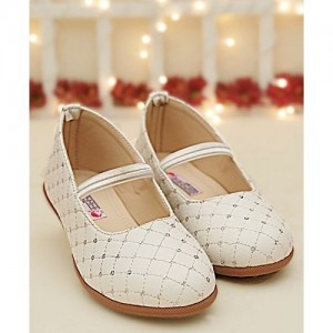 D'chica White  Synthetic Leather Threadwork Ballerinas
