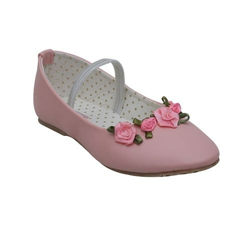 D'chica Rose Pink Synthetic Leather Applique Ballerinas