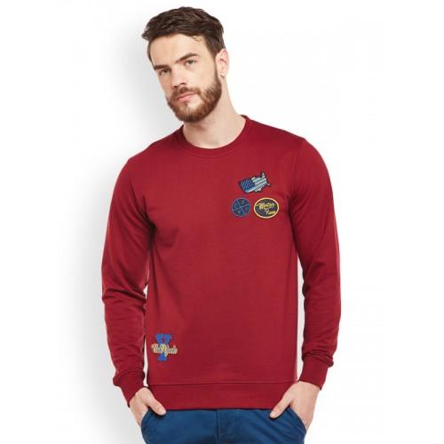 Club York Men Maroon Cotton Blend Solid Sweatshirt