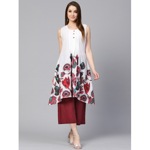 Shree Women White & Red Printed A-Line Kurta