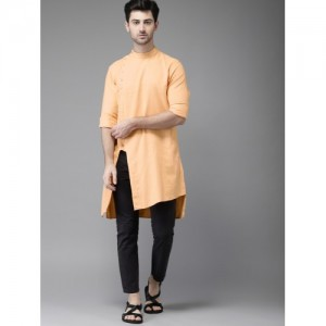 Freehand Men Orange Cotton Solid Straight Kurta