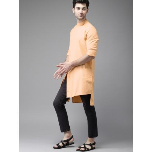 Freehand Men Orange Cotton Solid Straight Kurta