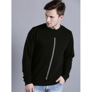 Kook N Keech Men Black Cotton Solid Sweatshirt