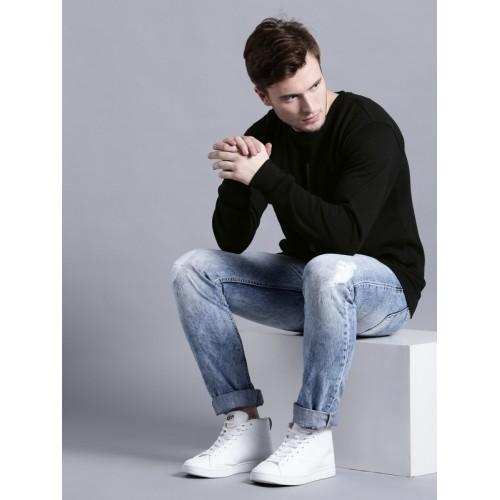 Kook N Keech Men Black Cotton Solid Sweatshirt