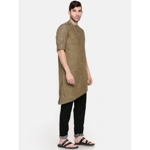 Freehand Men Brown Cotton Solid Straight Kurta