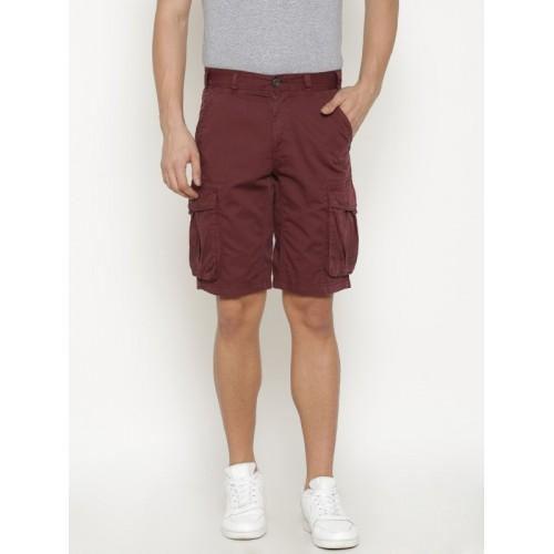 T-Base Solid Men's Maroon Cargo Shorts
