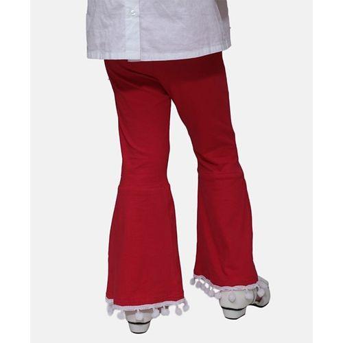 D'Chica Flared Bottom Full Length Leggings - Red