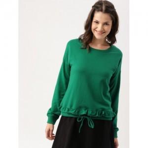 DressBerry Women Green Solid Sweatshirt
