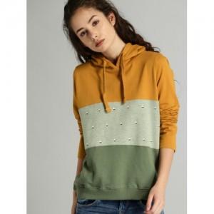 Roadster Women Mustard & Grey Hooded Sweatshirt