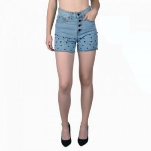 Dare Above All Polka Print Women's Blue Denim Shorts