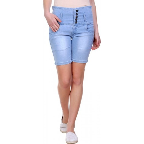 Pantoff Solid Women's Denim Light Blue Denim Shorts