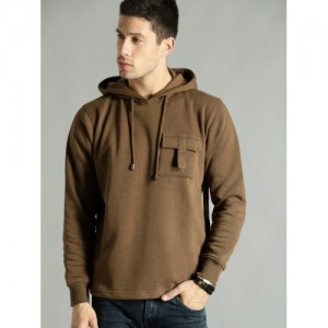 Roadster Men Brown Solid Hooded Sweatshirt