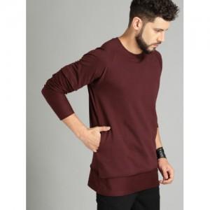 Roadster Men Maroon Cotton Solid Sweatshirt