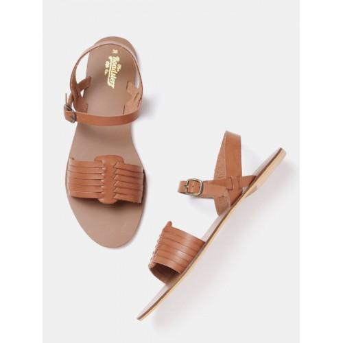 0e6dbfe5b Buy Roadster Women Brown Solid Open Toe Flats Sandals online ...
