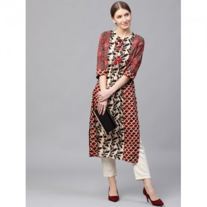 Shree Women Beige & Rust Red Printed Straight Kurta