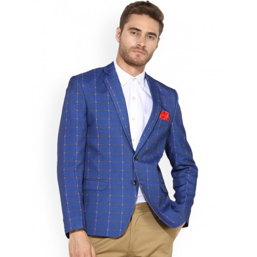 Hangup Men Blue Checked Single-Breasted Slim Fit Blazer