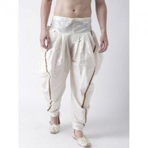 DEYANN Men Off-White Solid Silk Dhoti