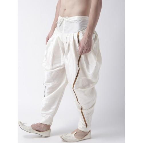 DEYANN Men Off-White Solid Silk Dhoti
