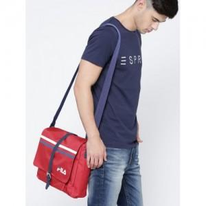 FILA Unisex Red Fabian Patterned Messenger Bag