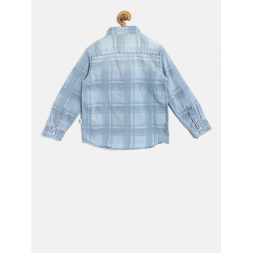 Lee Cooper Boys Blue Regular Fit Checked Chambray Shirt