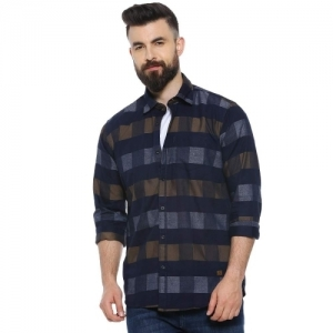 Campus Sutra Navy Blue Regular Fit Checked Casual Shirt