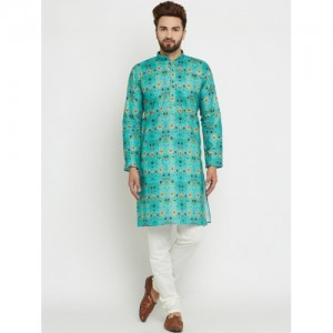 SOJANYA Men Turquoise Blue & Off-White Printed Kurta with Churidar