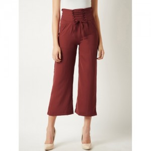 19580075cb465 Miss Chase Brown Polyester Regular Fit Solid Regular Trousers