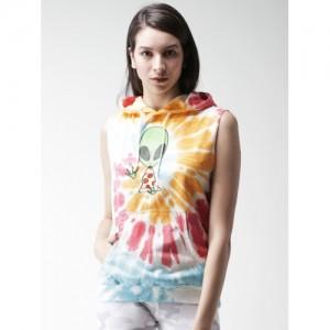 FOREVER 21 Multicoloured Dyed Hooded Sweatshirt