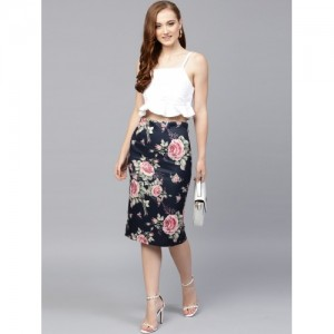 SASSAFRAS Navy Blue & Pink Printed Pencil Skirt
