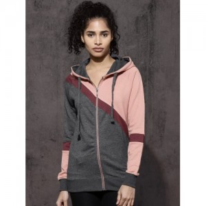 Roadster Women Grey & Peach-Coloured Colourblocked Hooded Sweatshirt