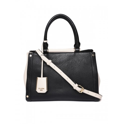 Dune London Black & Off-White Solid Handheld Bag with Detachable Sling Strap