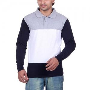 Vivid Bharti Men's Cotton Color Block Polo T-Shirt
