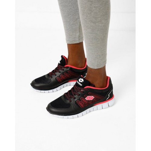 LOTTO Panelled Black Lace-Up Running Shoes