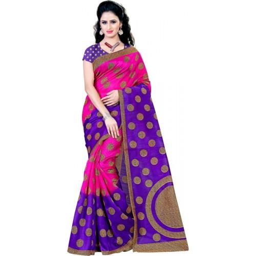 Kara Pink Cotton Printed Casual Saree With Blouse