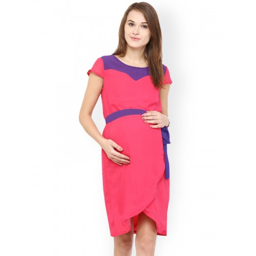 Buy Mine4nine Pink Georgette A Line Maternity Dress Online Looksgud