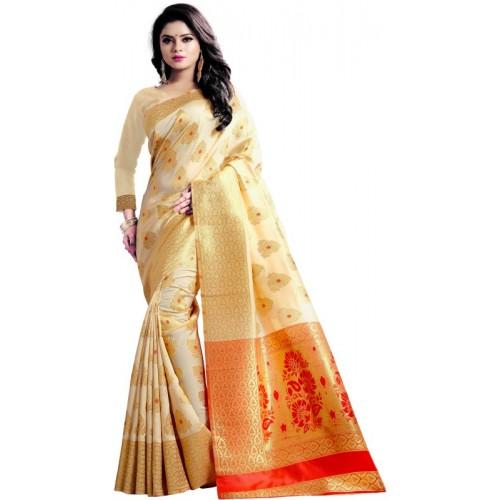 Jay fashion Cream Woven Banarasi Silk Saree With Blouse