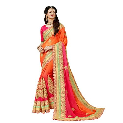 Manohari Orange Chiffon Lace Work Saree With Blouse