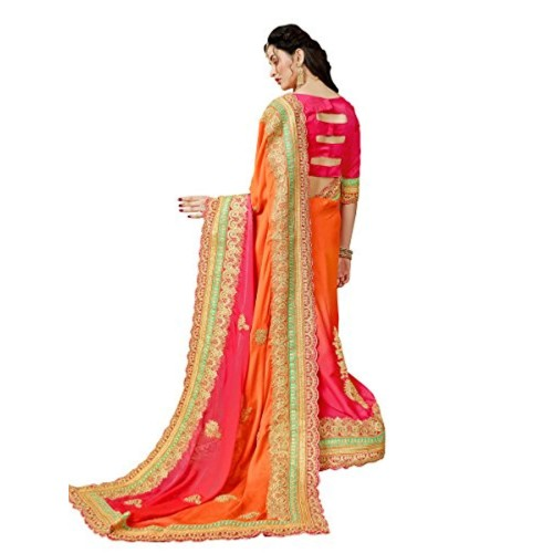 Manohari Orange Chiffon Lace Work Saree With Blouse