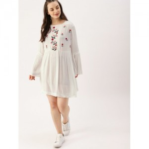 DressBerry Off-White Viscose Rayon Embroidered A-Line Dress